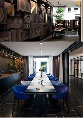 طراحی داخلی هتل، استفاده از بلاک های حروف برای نمایش تاریخچه ی هتل