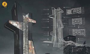 روبان آبی برگزیده رقابت طراحی برج مدرسه معماری دوبی