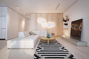 سیاه، سفید، چوب: معماری داخلی خانه ای با سبک معاصر