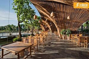 طراحی فضای سیال رستوران با چوب بامبو