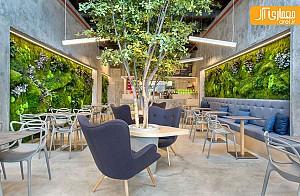 طراحی داخلی رستوران سبز با الهام از فضای پارک