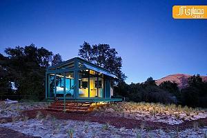 خانه تابستانی شیشه ای در دامنه کوهستان نیوزیلند