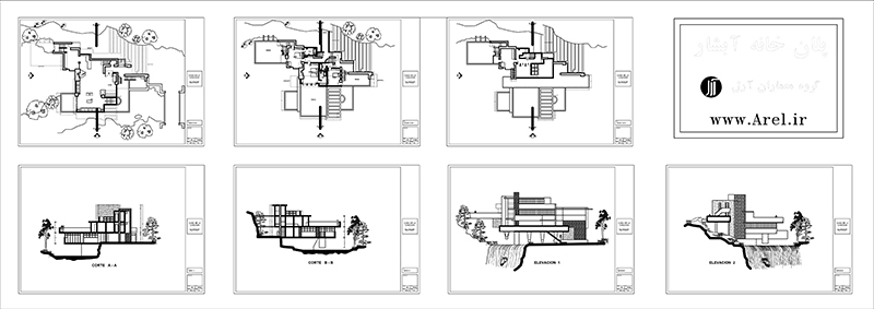 دانلود پلان دوبعدی و سه بعدی خانه آبشار فرانک لوید رایت،پلان دوبعدی و سه بعدی خانه آبشار فرانک لوید رایت