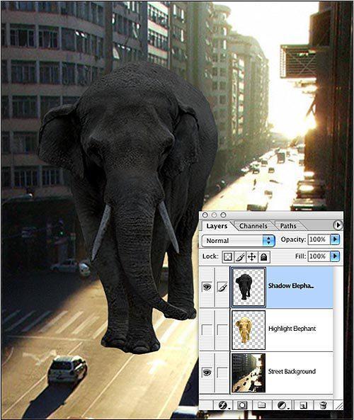 اموزش فتوشاپ ، تطبیق نور در عکس ، ایجاد سایه در فتوشاپ