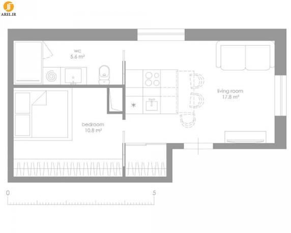 طراحی داخلی 4 آپارتمان با مساحت زیر 40 مترمربع