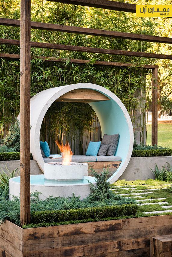 معماری منظر: استفاده از لوله های بتنی در محوطه سازی باغ