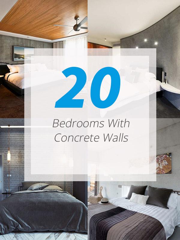 20 ایده طراحی داخلی اتاق خواب با دیوار بتنی