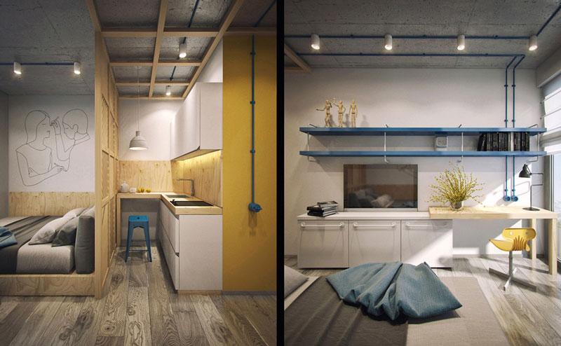 طراحی داخلی مدرن به رنگ زرد