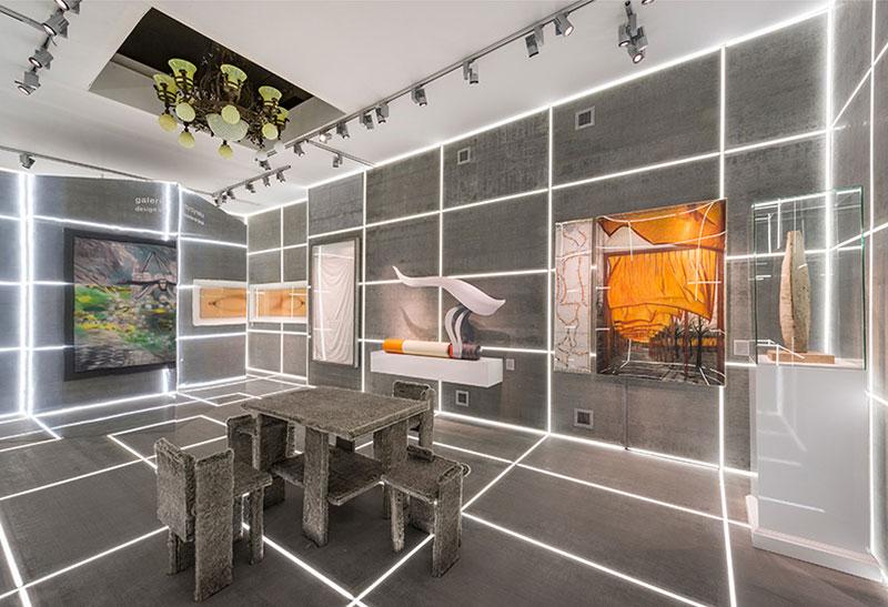 طراحی غرفه با متریال سنگ و LED