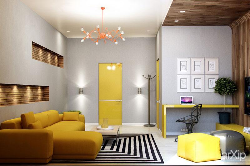 طراحی داخلی نشیمن به رنگ زرد