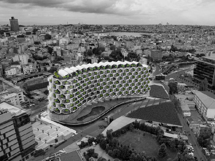 """طرح پیشنهادی ساختمان مسکونی با عنوان """"روستای شهری"""""""