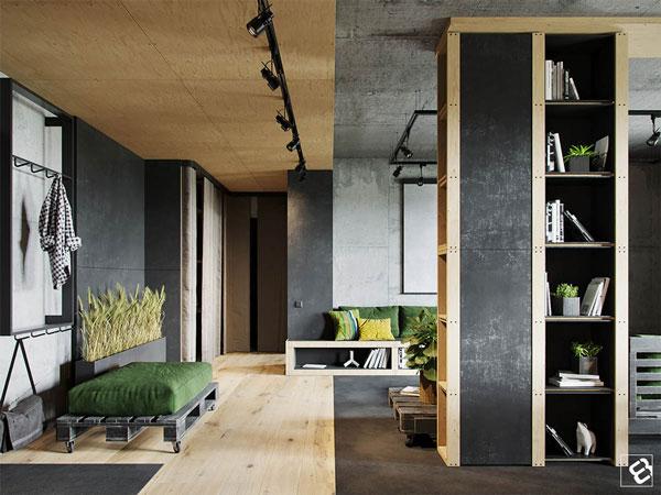 همنشینی بتن و چوب در طراحی داخلی منزل