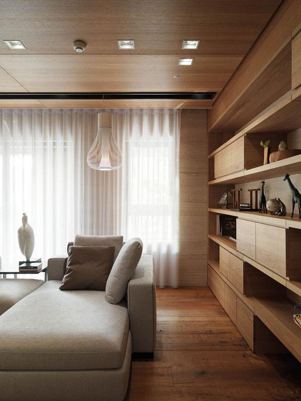 طراحی داخلی آپارتمان متمرکز بر المان های چوبی
