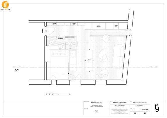 پلان داخلی آپارتمان 30 متری مینیمال