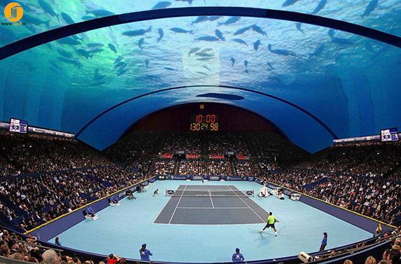 طراحی عجیب و زیبای زمین تنیس زیر آب