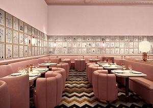 رستورانی با طراحی داخلی صورتی در لندن