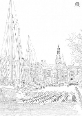 طراحی دیجیتالی با هاشور، برای نمایشگاه دوسالانه ی معماری روتردام