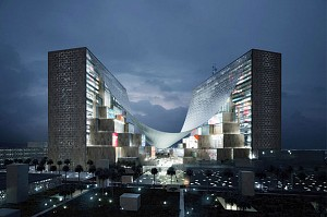 پیشنهاد گروه بیگ برای ساخت ساختمان خاورمیانه ی رسانه ی HQ با استفاده از سایبان کششی غول پیکر