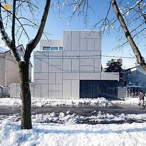 نمای ساختمان مسکونی با پاکت های ضربدری + طراحی داخلی + پلان