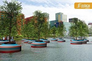طراحی منظر: نصب یک جنگل شناور در شهر رتردام