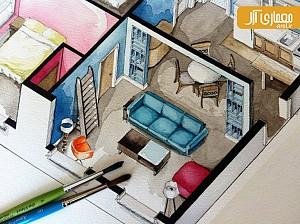 پلان فضاهای مسکونی موجود در فیلم ها و سریال ها با آبرنگ