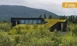 معماری سبز: طراحی بامی سبز برای کلبه ی تعطیلات در ایسلند