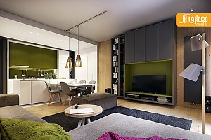 طراحی داخلی آپارتمان، سبز در بستر سفید