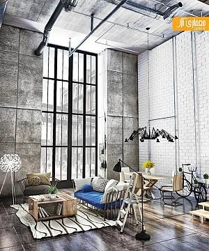 طراحی داخلی مدرن و متریالی با نام بتن اکسپوز