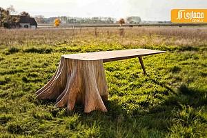 میز دست ساز  با تنه ی درخت، ساده و خلاقانه