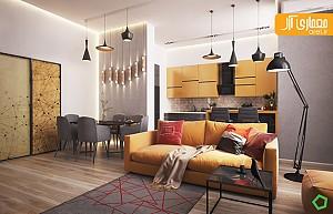 رنگ زرد به عنوان رنگ شاخص در طراحی داخلی آپارتمان