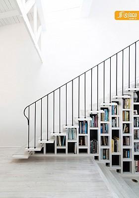 طراحی جزئی: کتابخانه و راه پله، اثر خلاقانه معمار