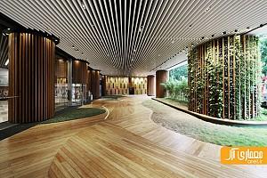 معماری داخلی و طراحی لابی و ورودی برای یک دفتر مرکزی