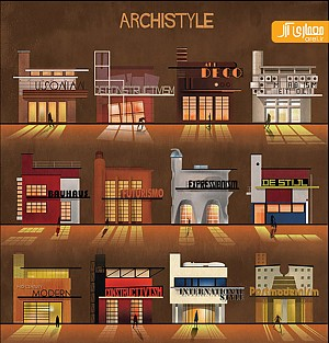 اینبار با فدریکو بابینا و طراحی پوستر های سبک های معماری معاصر!