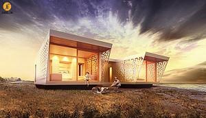 طراحی خانه پیشساخته چوبی به سبک مدیترانهای