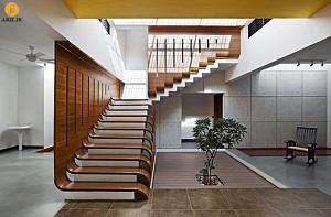 طراحی جزئی: راه پله های چوبی، محافظ تا سقف