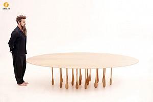 خلاقیت : طراحی میز با پایه هایی مانند قطره باران