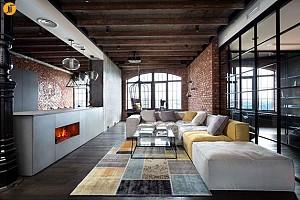 طراحی داخلی آپارتمان مسکونی با سبک روستیک