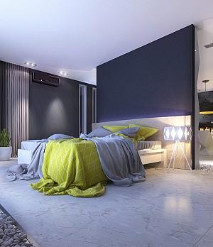 نمونه ی اتاق خواب جذاب و مدرن به همراه سرویس خواب