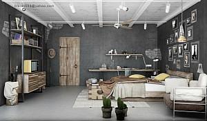 طراحی دکوراسیون داخلی اتاق خواب: با رویکرد استفاده از المان های صنعتی