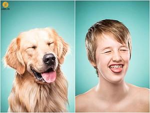 خلاقیت : تقلید انسان ها از میمیک و حالت صورت سگ هایشان