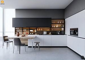 امروز در دکو بوم: استفاده از رنگهای سیاه و سفید به همراه چوب در دکوراسیون داخلی آشپزخانه