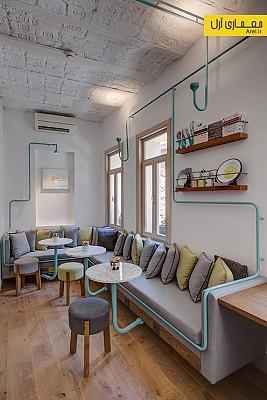 طراحی داخلی  کافه کتابی در استانبول با استفاده از المان لوله