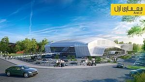 معماری سالن بزرگ ورزشی شهر yambol