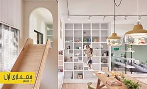 طراحی داخلی آپارتمانی در تایوان به همراه فضایی برای بازی بچه ها