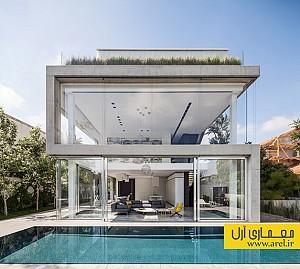 معماری و طراحی داخلی ساختمانی با نمایی از جنس بتن و شیشه