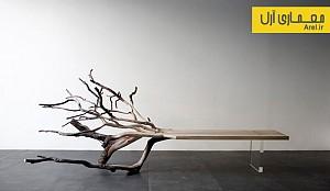 طراحی نیمکت چوبی با استفاده از تنه ی درخت
