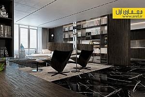 طراحی داخلی آپارتمان لوکس مدرن با تم تیره - بخش 1