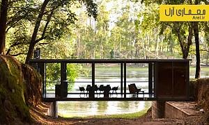 معماری و طراحی غرفه ای به صورت پلی بر فراز برکه ای در آرژانتین