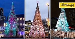 طراحی درخت های کریسمس غول پیکر در شهرهای لندن، بوداپست و منچستر