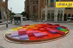استفاده از 30 تن ماسه رنگی برای طراحی المان شهری در دوهه